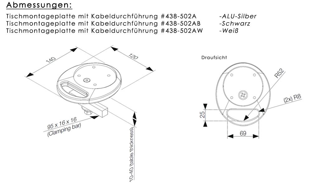 Tischmontageplatte mit Kabeldurchführung