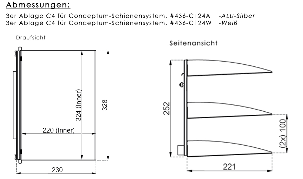 Ablage (3er) C4 für Conceptum
