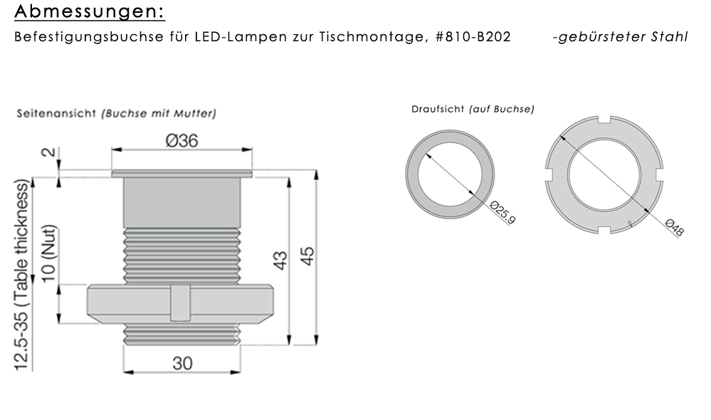 Befestigungsbuchse für LED-Lampen