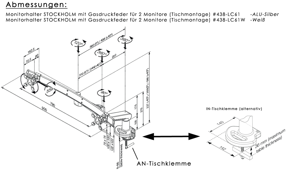 Monitorhalter mit Gasfeder