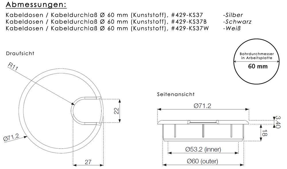 Kabeldosen / Kabeldurchlaß / Kabeldurchführung